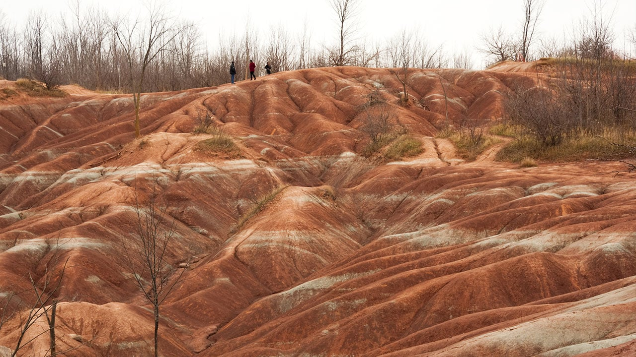 The orange and white sands of the Cheltenham Badlands outside Toronto, Canada