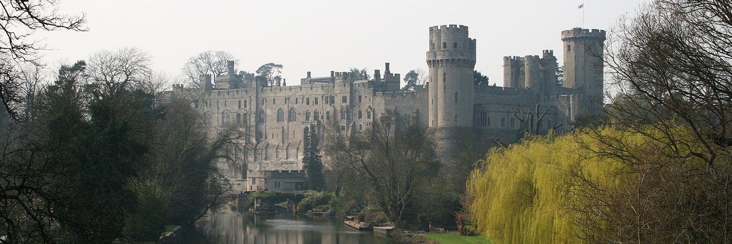 View of Warwick Castle from the lake